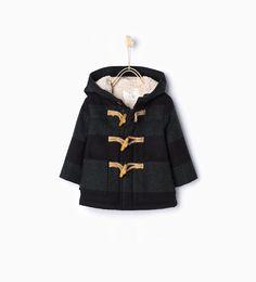 Image 2 of Checked sheepskin duffle coat from Zara