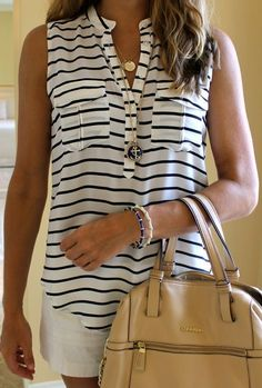 Comfortable but little preppy casual summer outfit with stripes on the shirt. Blue and white.