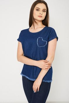 5922fae59bf48 Mid Blue Denim Top With Heart Detail Ex-Branded This item is ex-branded and  will therefore have the labels cut Key Features Include  - Rounded Neckline  ...
