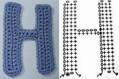 Stitch letter H Alphabet Au Crochet, Crochet Letters, Diy Crochet, Crochet Things, Crochet Accessories, Crochet Stitches, Lana, Miniatures, Diy Crafts