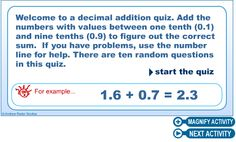Use a number line for this multiple choice quiz