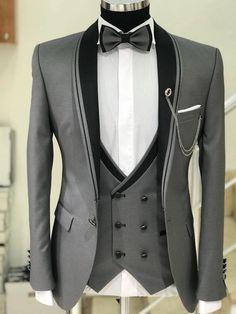 Men's Suits - Abboud Smokin Grey Plaid Suit Dress Suits For Men, Men Dress, Mens Fashion Suits, Mens Suits, Grey Suits, Engagement Dress For Men, Terno Casual, Terno Slim Fit, Mode Costume
