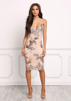 Rose Gold Sequin Bodycon Dress - New