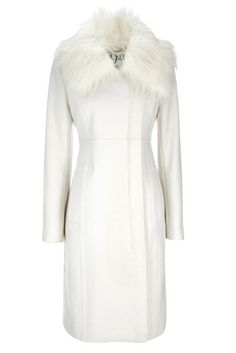 """""""This is a lovely nostalgic and elegant coat that fits well. It is good value for money and the cut and shape are lovely. The collar can be removed giving you a different look. A lovely winter white colour that can be worn with the numerous 1920's style hats that are in the shops and teamed with ankle boots and a long skirt or elegant trousers ."""""""
