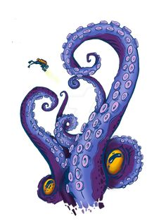 Tentacles print by Morfiya on DeviantArt Marker Kunst, Marker Art, Octopus Tentacles, Octopus Art, Octopus Tattoo Sleeve, Doodle Paint, Jellyfish Art, Graffiti Tattoo, Monster Dolls
