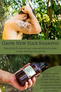 Our Grow New Hair Shampoo contains various ingredients like Argan Oil, Aloe Vera, and Castor Oil that help promote thick, healthy hair growth.  This shampoo for men and women gently cleanses your hair and scalp helping to remove excess buildup and other chemical residues without clogging hair follicles.