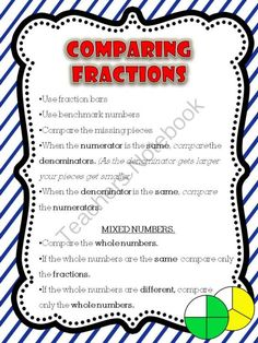 FREE: Comparing Fractions Anchor Chart from More Time 2 Teach on TeachersNotebook.com (3 pages)