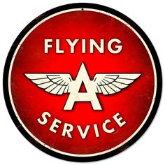 Flying A Service Grunge Metal Sign Red Small Vintage Gas Station Garage Decor 14 in Collectibles, Advertising, Gas & Oil Garage Signs, Garage Art, Vintage Trucks, Retro Vintage, Vintage Labels, Vintage Style, Sous Bock, Tableau Pop Art, Vintage Metal Signs
