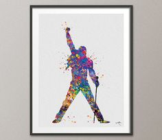 Freddie Mercury Watercolor Print Queen's Poster Bohemian Pop Art Geek Nerd Wall Decor Art Queen Music Home Decor Wall Hanging [NO 613]