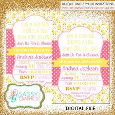 Duck Baby Shower Invite Baby Shower by SassyGraphicsDesigns