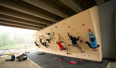 Burnley Wall, McConchie Reserve in Mebourne, Australia. A bouldering wall tucked under a bridge.