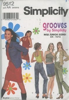 Teen Pants, Shirt, Skirt and Tops Sewing Pattern Simplicity 9512 Size 3/4 to 9/10 Uncut