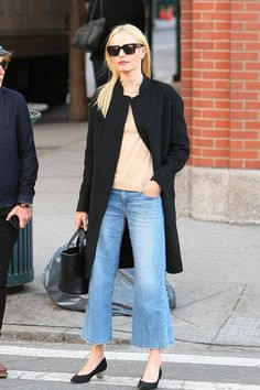 Kate Bosworth wearing  Joe's Jeans The Gaucho Mid-Rise Cropped Jeans, Jan, Meli Melo Rosalia Mini Black, Stuart Weitzman The Pocochain Pump