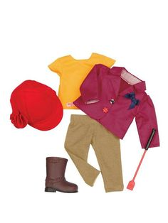 Our Generation Our Generation raedy to ride outfit Prepare your Our Generation doll for an equestrian expedition with this Ready to Ride Outfit! This stable outfit includes a t-shirt, jacket, jodhpurs, riding hat, crop and a pair of boots. Ideal for your horse-mad child, it's suitable for most 46cm dolls.Useful info: Age from 3 yearsFull riding outfitSuitable for most 46cm dollsOur Generation Ready to Ride OutfitWarning:Not suitable for children under 3 years.
