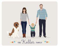Custom Family Portrait family illustration door HenryJamesPaperGoods, $80.00