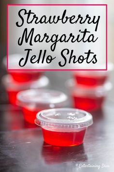 Easy Strawberry Margarita Jello Shots Recipe - Entertaining Diva Recipes @ From House To Home I love this strawberry Margarita recipe made with tequila and strawberry jello. The red color is perfect for Valentine's Day, the Super Bowl or a birthday party. Tequila Jello Shots, Lemonade Jello Shots, Strawberry Margarita Jello Shots, Easy Jello Shots, Jello Shot Cups, Making Jello Shots, Champagne Jello Shots, Strawberry Tequila, Jello Shooters Recipe Vodka
