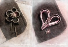 Zippers turned out to be brooches. Zippers, Brooches, Crafting, Jewelry, Jewlery, Brooch, Jewerly, Zipper, Schmuck