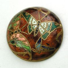 """Antique Champleve Enamel Dome Button w Butterflies So Gorgeous! 13/16"""""""