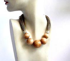Linen Bib Necklacenatural jewelryLinen necklaceEco