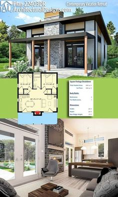 Architektonische Entwürfe Tiny House Plan gibt Ihnen 680 Quadratmeter W. Architectural Designs Tiny House Plan gives you 680 square feet of heat . Architectural Designs Tiny House Plan gives you 680 square feet of heat . - she shed idea - # Plan Chalet, Casas Containers, Tiny House Plans, Tiny Home Floor Plans, Square House Plans, Little House Plans, Small Modern House Plans, Small Cabin Plans, Small House Plans Under 1000 Sq Ft