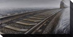Oil on canvas provides breathtaking realism. Train has effect. Streamline Art, Baby Furniture, Railroad Tracks, Oil On Canvas, Remote, Train, Wall Art, Artwork, Painting