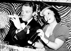 James Cagney & wife Billie celebrating New Year's