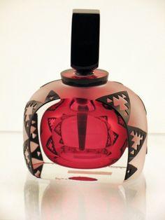 correia perfume bottles | Correia Art Glass - Perfume Bottle - Ruby and Black Tuxedo Design | By ...