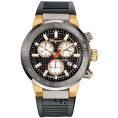 Salvatore Ferragamo 44mm F-80 Men's Chronograph Watch w/ Rubber Strap (€1.570) ❤ liked on Polyvore featuring men's fashion, men's jewelry, men's watches, black, salvatore ferragamo mens watches, mens water resistant watches, mens chronograph watches, mens watches jewelry and mens watches