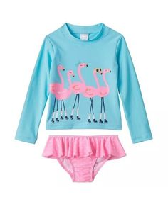 CARTERS girls 2 Piece Rashguard Set, Flamingos, Size 6X, Brand New Swimsuit  | eBay