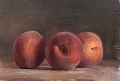 daily painting titled Three peaches - yum