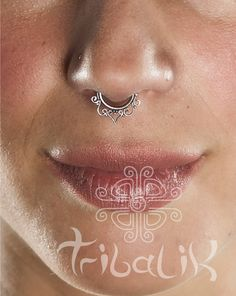 CINTA FILIGREE Silver septum ring 1.mm silver wire for pierced nose 18g approx lotus septum  (Code ss26) by TRIBALIK on Etsy