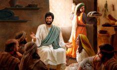 María sentada a los pies de Jesús escuchándolo mientras Marta, frustrada, prepara a toda prisa la comida