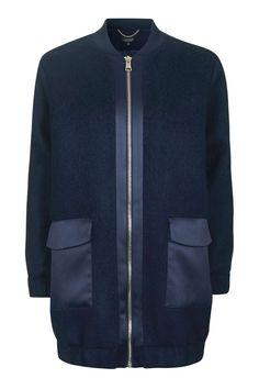 Wool Satin Hybrid Coat us topshop