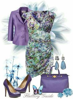 """Louise"" by flattery-guide on purple floral dress and blazer handbag and pumps Classy Outfits, Chic Outfits, Beautiful Outfits, Dress Outfits, Fashion Dresses, Purple Fashion, Spring Fashion, Modelos Fashion, Elegantes Outfit"