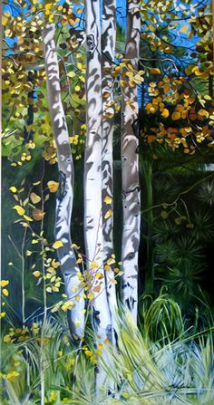 Aspens in Autumn by Mary Lanka, Gallery Uptown, Grand Haven, Mi Grand Haven, Wood Glass, Aspen, Wearable Art, Painting & Drawing, Jewelry Art, Mary, Pottery, Autumn
