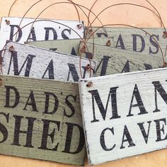 Man Cave / Dads Shed wooden rustic handpainted sign - Fathers Day gift present…