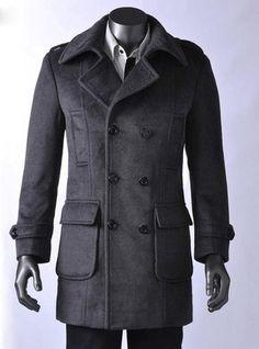 Men's Wool Coat Winter Trench Coat Outear Overcoat Long Jacket 2 Colors 47 | eBay
