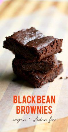 stack of gluten free black bean brownies