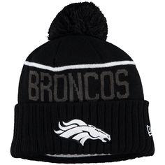 Men's New Era Black Denver Broncos Black & White Sport Cuffed Knit Hat