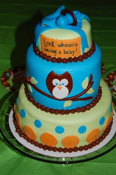 Owl baby shower cake.  Carrot cake with cream cheese frosting + choclate cake with cream cheese frosting and fresh strawberries all covered in MMF.
