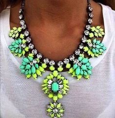 New Green Yellow Statement Choker Neon Summer Fashion Necklace #AndersonAccessories #Statement
