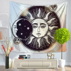 Multifunction Psychedelic Celestial Indian Sun Tapestry #bedroom #livingroom #diy #handmade #best #modern #design #bohemian #beautiful #wallhanging #Colorful #tapestry #textileart #walldecoration #hippie #inspiration #decorative #interior #off #usa #flooring #office #home #decoration #mandala