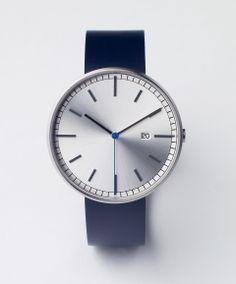 Uniform Wares 203 Series [Brushed Steel/Blue Leather] | Uniform Wares