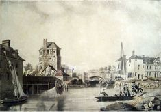 Folly Bridge & Bacon's Tower, James Basire's engraving, picture by Michael Angelo Rooker, 1780