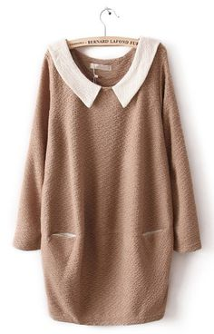 Khaki Contrast Collar Long Sleeve Pockets Dress