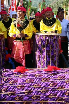 Drums at a muslim procession, Lombok, Indonesia
