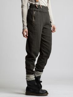 ELASTICATED WAIST TROUSER WITH FLANNEL OLD LOOK - JACKETS, JUMPSUITS, DRESSES, TROUSERS, SKIRTS, JERSEY, KNITWEAR, ACCESORIES - Woman - Weird Fashion, I Love Fashion, Mori Fashion, Drop Crotch Pants, Exclusive Clothing, Trouser Jeans, Winter Wardrobe, Jumpsuits For Women, Pretty Outfits