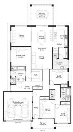 Bedroom floor Study - Floor Plan Friday 4 bedroom, study, high ceilings & kitchen on the rear. Floor Plan 4 Bedroom, 4 Bedroom House Plans, Dream House Plans, House Floor Plans, 4 Bedroom House Designs, The Plan, How To Plan, Simple Floor Plans, Home Design Floor Plans