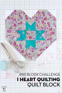 RBD Block Challenge Block 14; I Heart Quilting Block   Polka Dot Chair Quilting Tutorials, Quilting Projects, Sewing Projects, Quilting Ideas, Sewing Patterns Free, Quilt Patterns, Polka Dot Chair, Flower Frame, Pattern Blocks