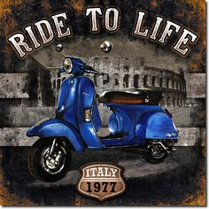 cuadro moto 01 ride to life blue